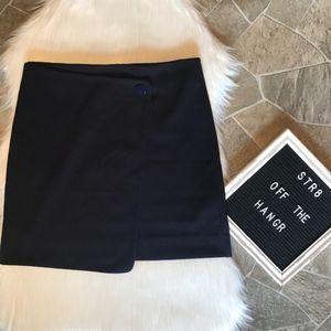 LOFT navy blue knit a-line wrap skirt size 6